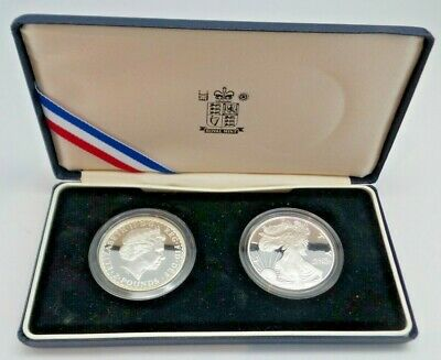 1998 Proof £2 Britannia and USA $1 Silver Eagle Coins Cased With Royal Mint G78