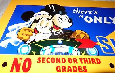 """Vintage """"Sunoco"""" Blue Mickey Mouse & Minnie Driving! 12"""" Metal Gasoline Oil Sign"""