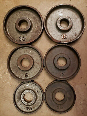 Olympic Size Barbell Weights Pairs 10, 5, 2.5 Lb Plates home gym Ivanko DAMAGED