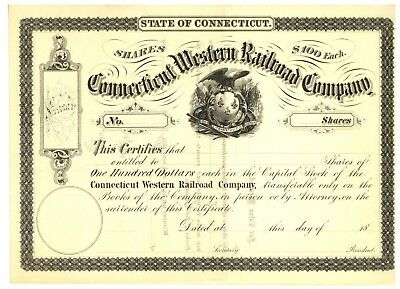 Connecticut Western Railroad Company.  Stock Certificate