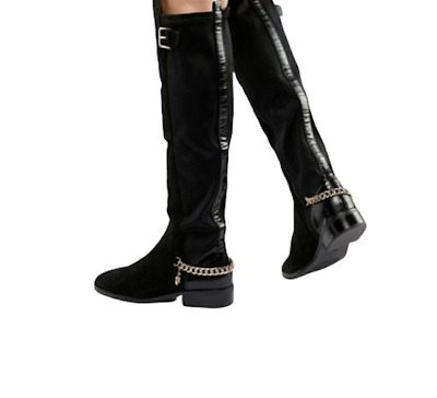 Girls/Kids Ex River Island Knee High Boots Chain Black Faux Leather Rrp £35