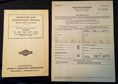 Briggs & Stratton Model A series Operating Maintenance Parts List 1946 Original