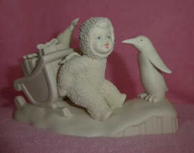 Dept 56 Snowbabies WAIT FOR ME Snowbaby Pushing Sled With Presents Penguin Large