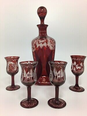 Antique Etched Cranberry Glass Cordial Set With 4 Small Glasses