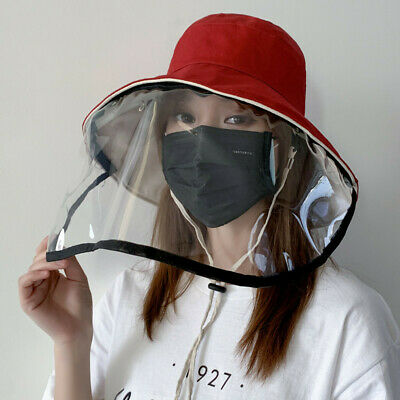 Men Women Summer Bucket Fisherman Hat Cap with Clear Protective Face Shield New