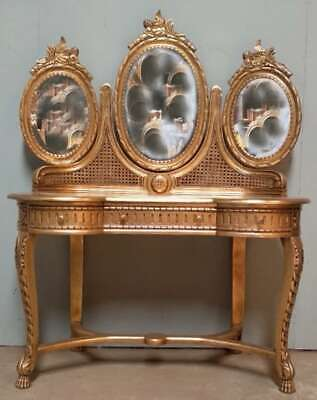 Solid Mahogany French Rococo Antique Louis Style Gilt Rattan Dressing Table
