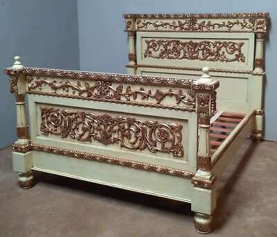 Mahogany 5' King Hand Painted Gilded Antique Style Italian Bed Green Gilt