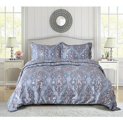 Luxury Quilted Bedspread Bed Throw Floral Bedding Set Double King Super King