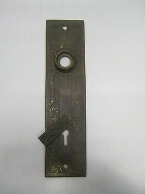 Antique Eastlake Cast Brass Door Knob Lock Cover Escutcheon Plate Key Flap Door
