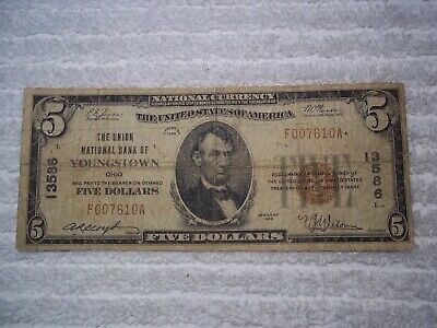 1929 $5 Youngstown Ohio OH National Currency T1 # 13586 Union National Bank #