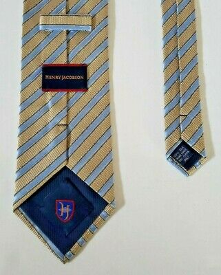"""Henry Jacobson Light Blue and Silver Gray Neck Tie 100% Silk Hand Made 4"""" x 59"""""""
