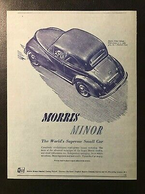 "1957 MORRIS MINOR 1000 BMC AD A2 CANVAS PRINT POSTER 23.4""x16.5"""