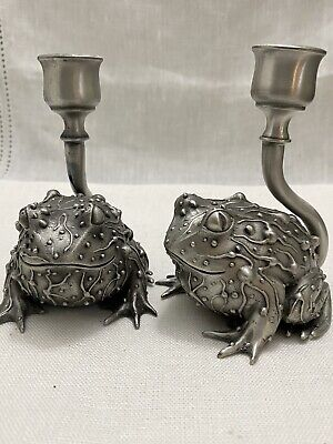 Prototype Pewter Fantasy Mythical Toad Frog Candlesticks