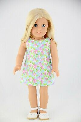 Aqua Pink Flowers Shift Dress American Made Doll Clothes For 18 Inch Girl Dolls