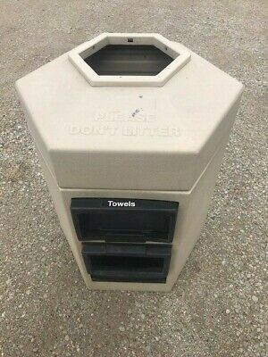 Gas Station Garbage Trash Waste Can Receptacle Windshield Washer & Towel Holder