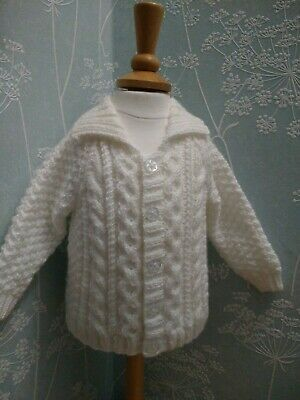 New: Hand Knitted Collared Aran style Jacket/Cardigan Baby Boy White 3-6 mths