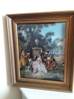 Vintage Mid-Century Victorian Period Silk Wall Picture Home Decor Framed.