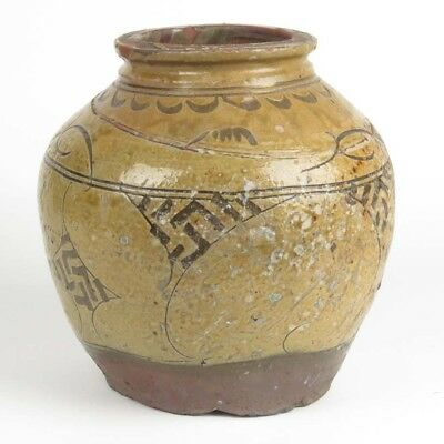 Antique Chinese jar pottery ceramic pot rice wine earthenware glazed decorated