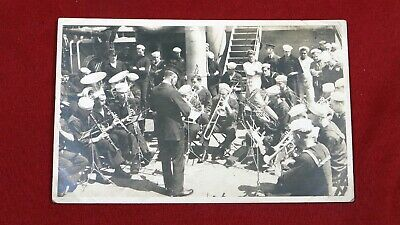 Antique WWI Era Postcard Navy Band Playing on Ship
