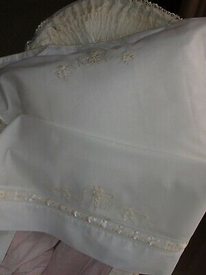 Hand Embroidered White Cotton Voile Baby Bassinet Sheet and Pillowslip Set