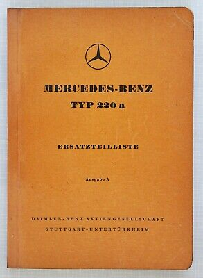 Mercedes-Benz Spare Parts Catalogue 1950s Model 220a in German