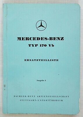 Mercedes-Benz Spare Parts Catalogue 1950s Model 170Vb in German