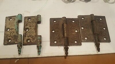 "Vintage Antique EASTLAKE Victorian Ornate DOOR HINGEs 3 1/2"" x 3 1/2"" for parts"