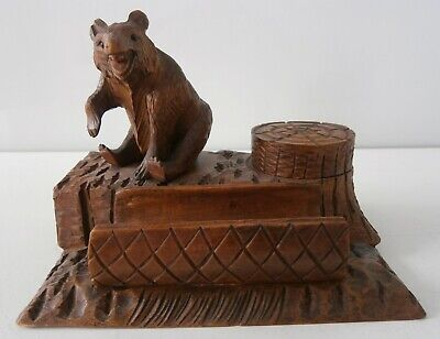 Antique Carved Bear Inkwell Stand Black Forest - Swiss - German c1890