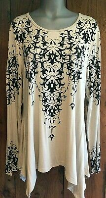 NWT VOCAL plus SHIRT tunic XXL 1X-3X western crystal bling TAUPE flattering sexy