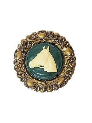 """Vintage Horse Cameo Pin Pendant 3"""" Green & Gold Toned Ornate Horse Lover"""