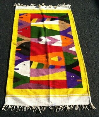 VINTAGE Mexican Saltillo Serape Runner Rug Aztec Southwest 52x29 SOFT! Fishes EC