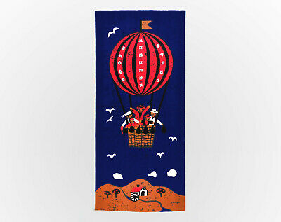 HUGE Vintage Retro Hot Air Balloon Blue Fabric Wall Hanging - Signed 1960s
