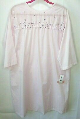 New Vintage Carole Hospital Nightgown Pink Floral Snap Open Back XL Cotton Blend