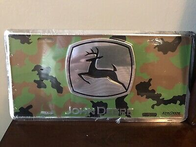 "John Deere Camo Tin Metal License Plate Sign 12""x6"""
