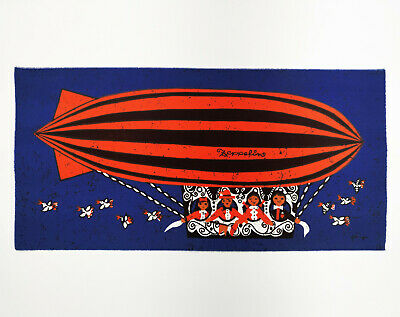 HUGE Vintage Retro Zeppelin / Blimp Blue Fabric Wall Hanging - Signed 1960s