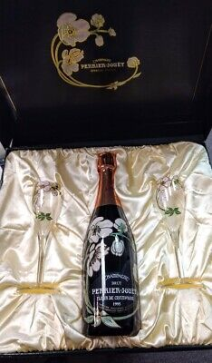 1995 Perrier-Jouet France Champagne in Box with 2 Glasses!