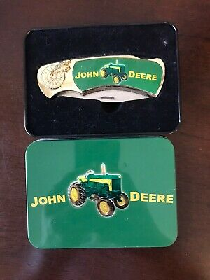 John Deere Tractor Collectable Knife With Collector Tin Metal Case