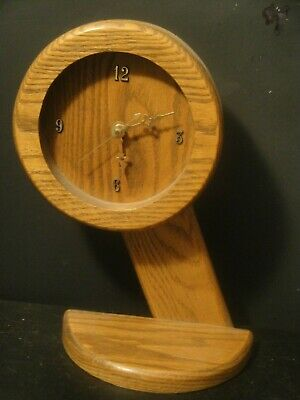 Art Deco Oak Wood Round Mantel Shelf Clock on Stand BCW 1094