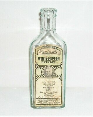 Vintage Rawleigh's 3oz Wintergreen Extract Pale Green Bottle with Original Label