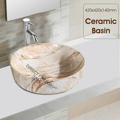 Bathroom Counter Top 42X42X14cm Ceramic Wash Basin Vanity Bowl Round Mable White