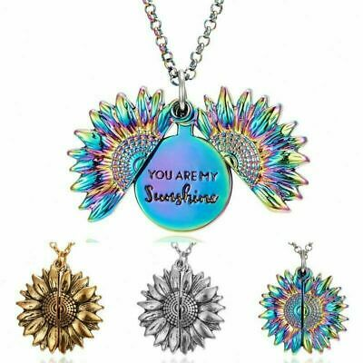 You Are My Sunshine Open Locket Sunflower Pendant Necklace EarringJewellery Gift