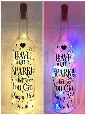 PERSONALISED BIRTHDAY GIFT LIGHT UP BOTTLE 16TH 18TH 21ST 30TH 40TH 60TH MUM