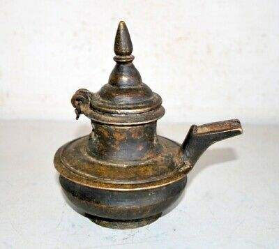 1850's Antique Old Brass Hand Crafted Indian Oil Storage Pot Butter Pot