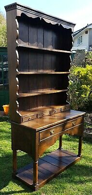 Antique Style Solid figured Elm welsh dresser on turned Legs reproduction
