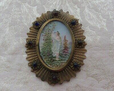 Antique Colored Marked France? Lithophane Set in Frame with Stones