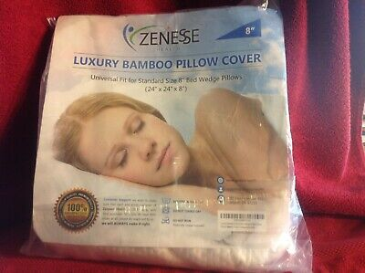 """Luxury Bamboo Pillow Cover only 8"""" Bed wedge fit Zenesse"""