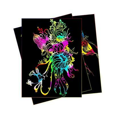 10 Sheets 16K Colorful Magic Scratch Art Painting Paper With Drawing Stick BL