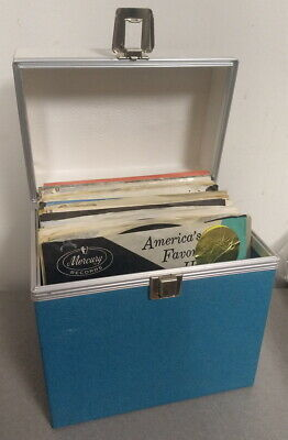 LOT of 50 VINTAGE 45 RPM RECORDS + CARRYING CASE No Duplicates! 1960's - 1980's