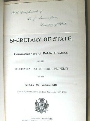 1892 State Wisconsin Financial Detailed Report Book Secretary Of State
