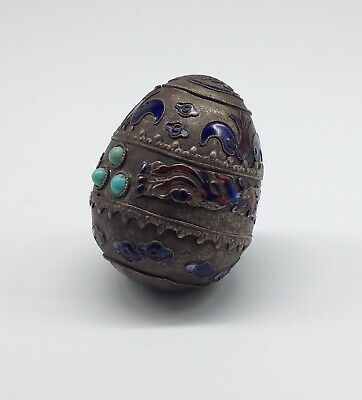Antique CHINESE ENAMELED Metal EGG Turquoise DRAGON early China rare c.19th Cent